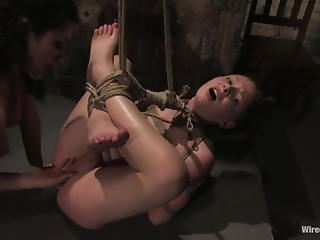 Lesbian BDSM with Anal Toying and Spanking and Torture