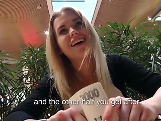 Money,Reality,Glasses,POV,Blowjob,Hardcore,Public Nudity,Couple,Blonde