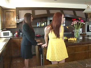 Raylene and Melody Jordan lick pussies in a kitchen