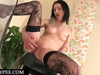 Pissing,Babe,Brunette,Close-up,Nylon,Stockings,Natural,Solo,Shaved