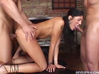 Gagging,Tattoo,Threesome,Double Penetration,Babe,Blowjob,Brunette,Hardcore,Natural