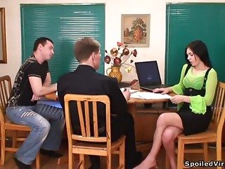 School,Babe,Brunette,Reality,Threesome