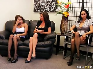 Secretary,Big Ass,Big Cock,Brunette,Cumshot,Group Sex,Lesbian,Office