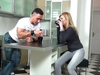 Awesome Sex In The Kitchen Floor With Blonde European Babe
