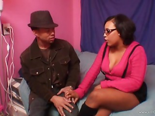 Chubby Ebony Christina Copafeel Gives a Blowjob and Gets Fucked Hard