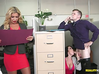 Office,Secretary,Strip,Big Ass,Big Boobs,Blowjob,Brunette,Hardcore,Lingerie,Public Nudity,Ass licking,Doggystyle