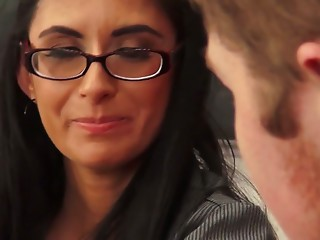 Glasses,Beautiful,Big Ass,Big Boobs,Blowjob,Brunette,Cumshot,Hardcore,MILF,Stockings,Doggystyle,Shaved,Anal