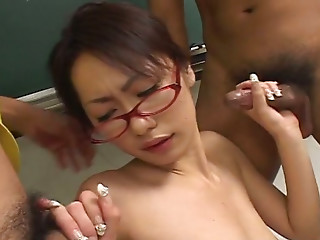 Asian,Beautiful,Big Ass,Blowjob,Cumshot,Double Penetration,Glasses,Lingerie,Small Tits,Threesome