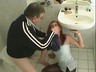 Old and young,Blowjob,Fingering,Mature,Redhead,Teen,Bathroom,Ass licking