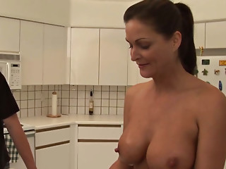 Kitchen,Natural,Big Boobs,Black and Ebony,Blowjob,Brunette,Cumshot,Housewife,Mature,MILF,Wife