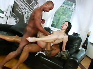 Double Penetration,Oiled,Anal,Threesome,Doggystyle,Slut,Shaved,Big Ass,Big Boobs,Big Cock,Black and Ebony,Blowjob,Brunette,Hardcore,Interracial