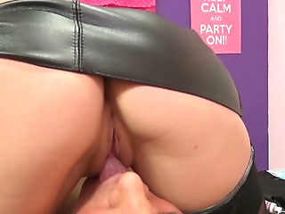 Lovely blond slut and freaky dawg present dirty fetish sex